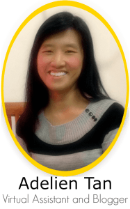 Here is some information about Adelien Tan and her qualification as a virtual assistant, specialized in blogging, social media management, graphic design.